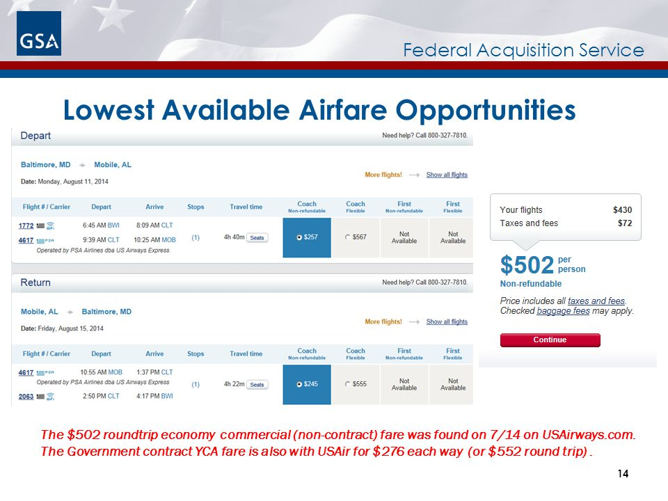 Lowest Available Airfare Opportunities