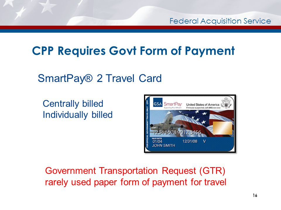 CPP Requires Govt Form of Payment