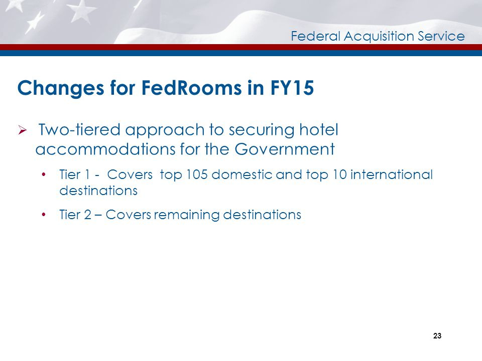 Changes for FedRooms in FY15