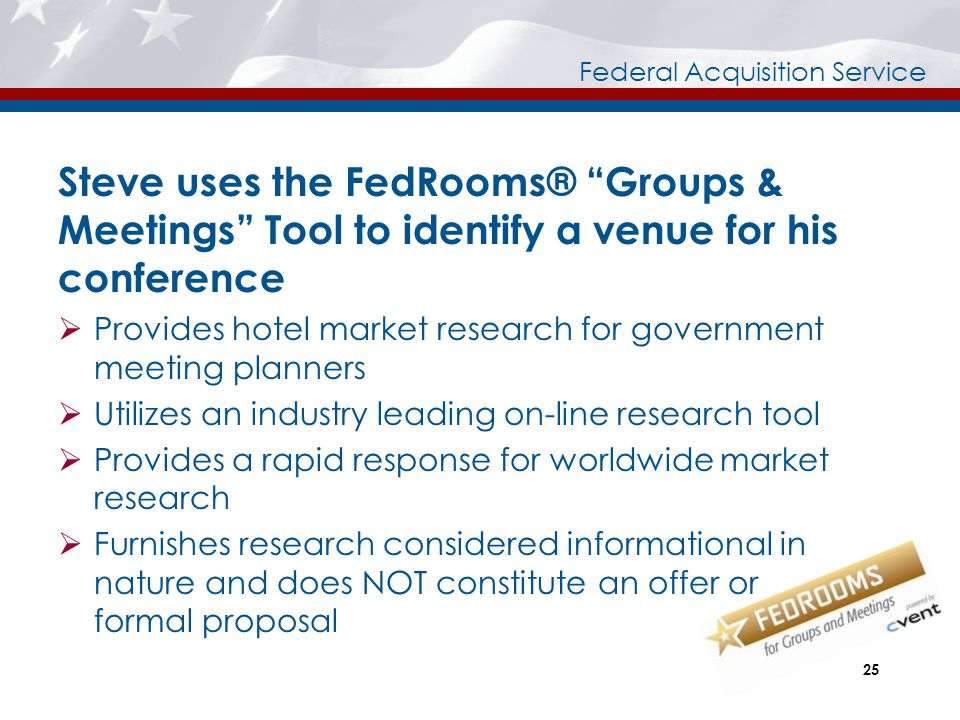 Steve uses the FedRooms® Groups & Meetings Tool to identify a venue for his conference