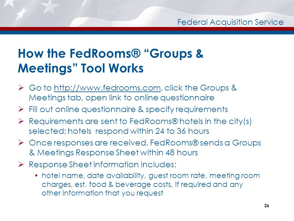 How the FedRooms® Groups & Meetings Tool Works
