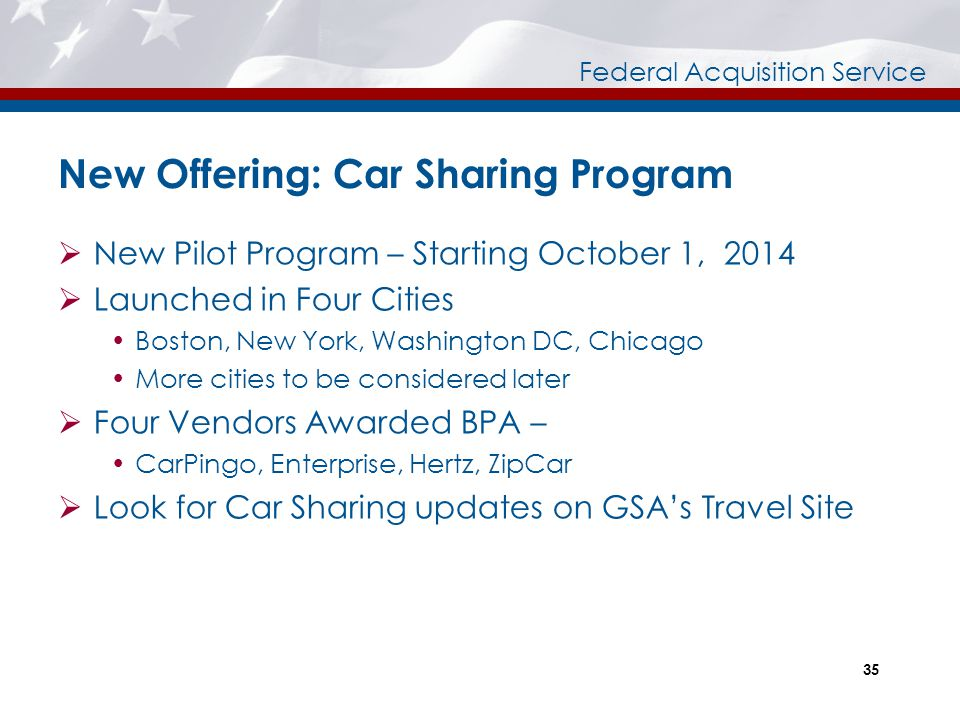New Offering: Car Sharing Program