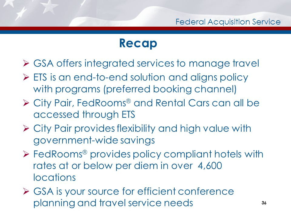 Recap GSA offers integrated services to manage travel