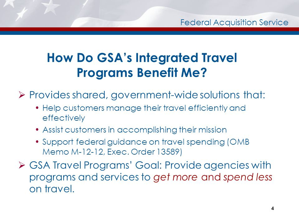 How Do GSA's Integrated Travel Programs Benefit Me