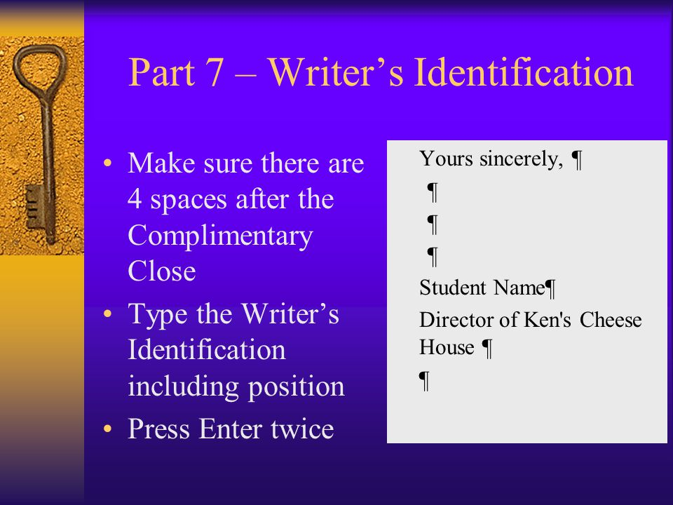 Part 7 – Writer's Identification