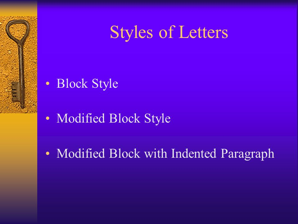 Styles of Letters Block Style Modified Block Style