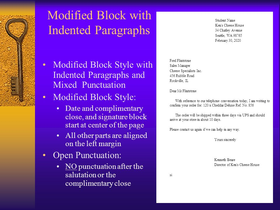 Modified Block with Indented Paragraphs