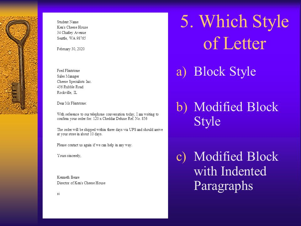 5. Which Style of Letter Block Style Modified Block Style