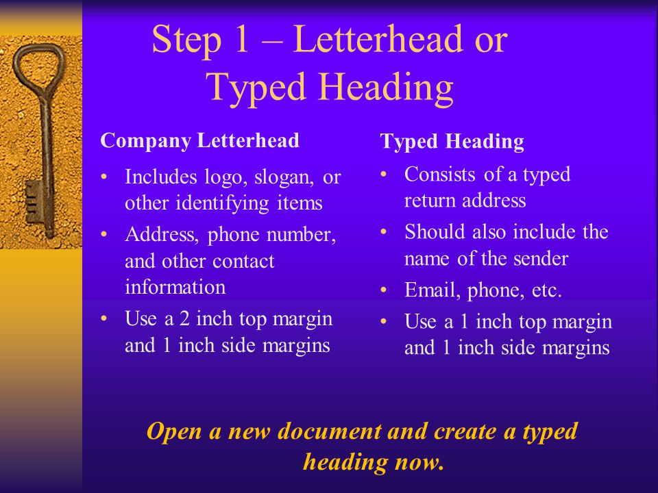 Step 1 – Letterhead or Typed Heading