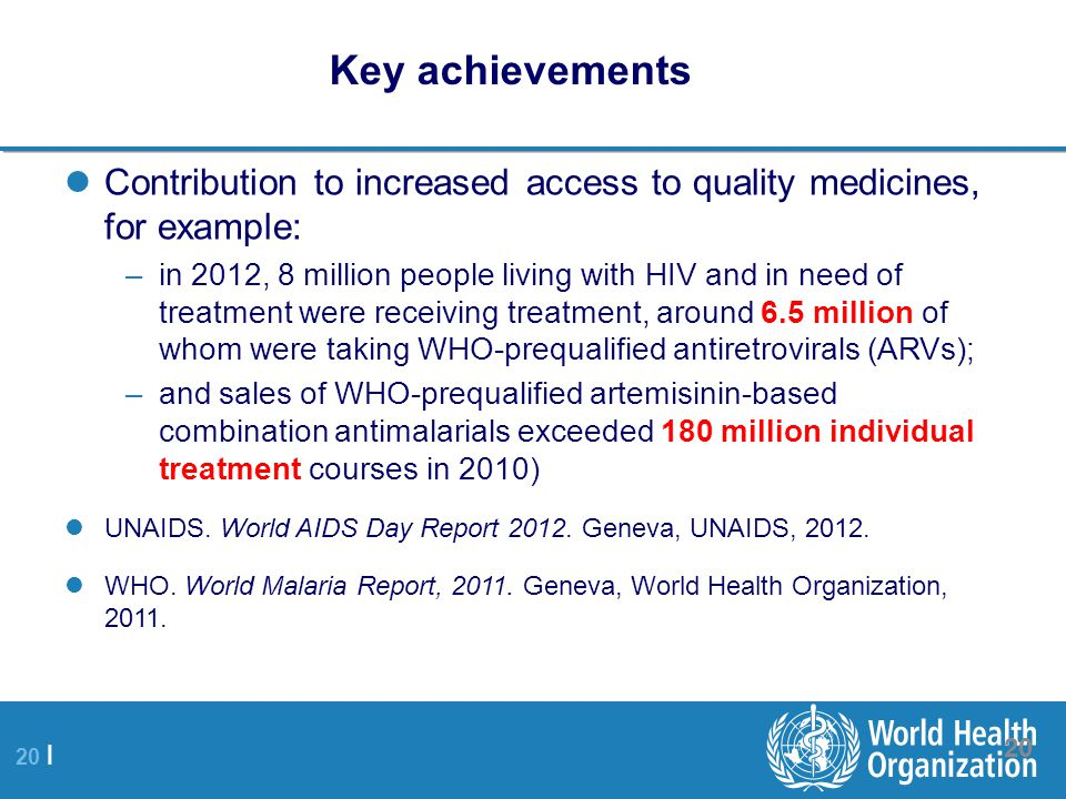 Key achievements Contribution to increased access to quality medicines, for example: