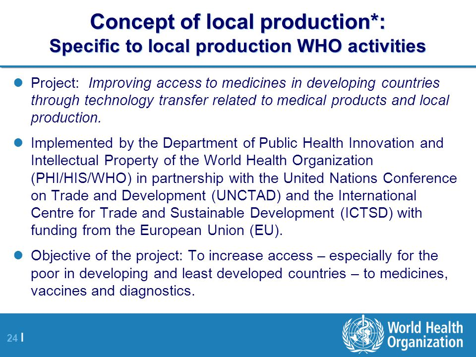 Concept of local production