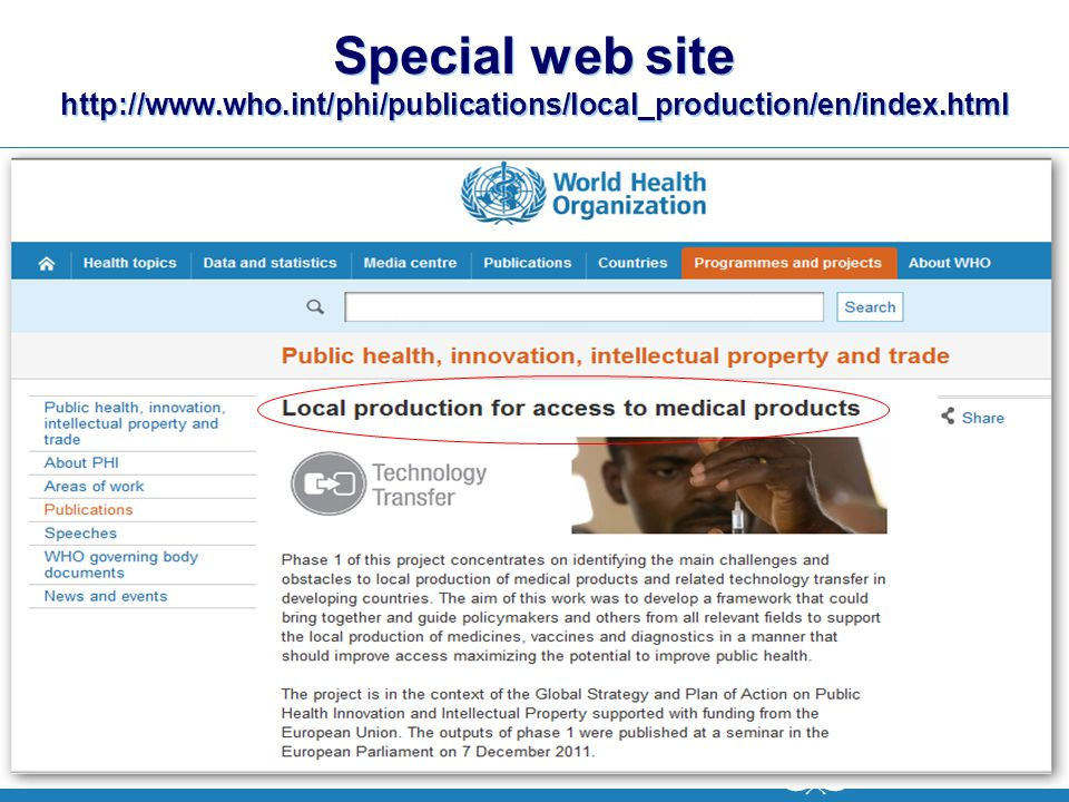 Special web site http://www. who