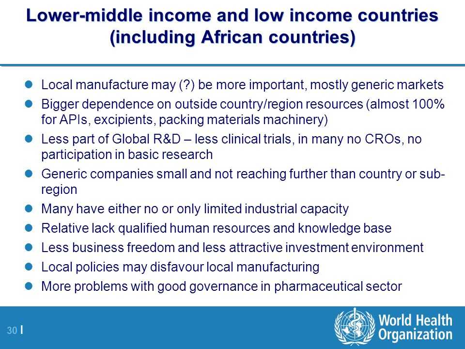 Lower-middle income and low income countries (including African countries)
