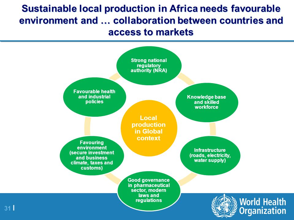 Sustainable local production in Africa needs favourable environment and … collaboration between countries and access to markets
