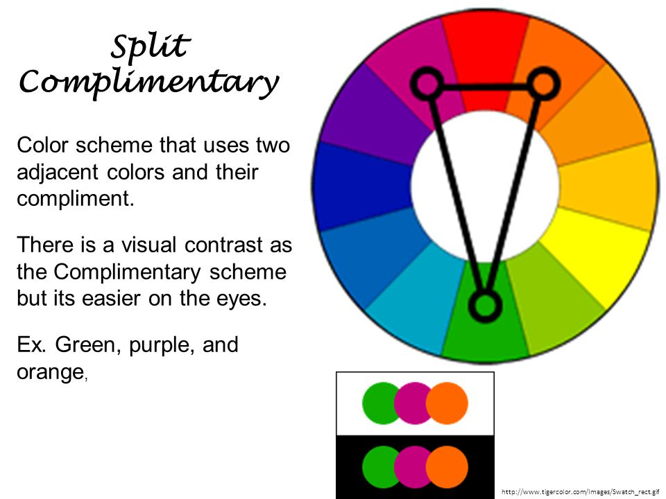 Split Complimentary Color scheme that uses two adjacent colors and their compliment.