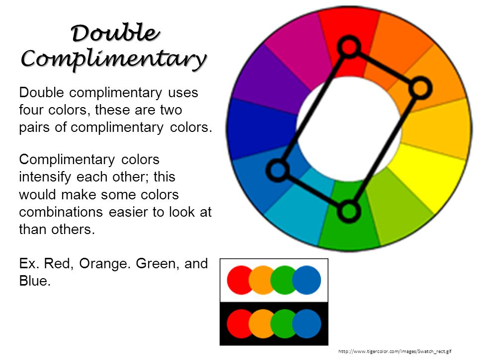 Double Complimentary Double complimentary uses four colors, these are two pairs of complimentary colors.