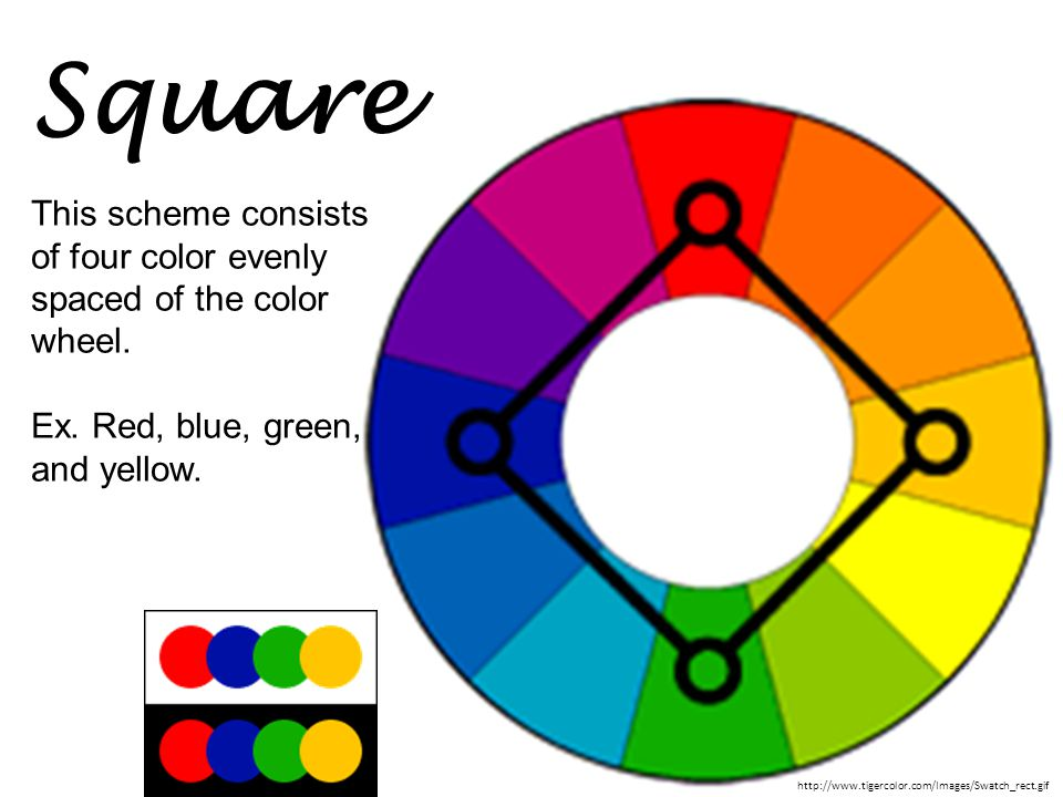 Square This scheme consists of four color evenly spaced of the color wheel. Ex. Red, blue, green, and yellow.