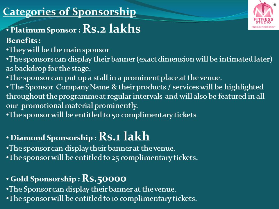 Categories of Sponsorship