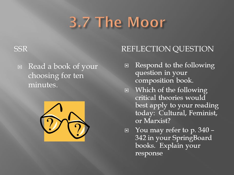 3.7 The Moor SSR Reflection Question