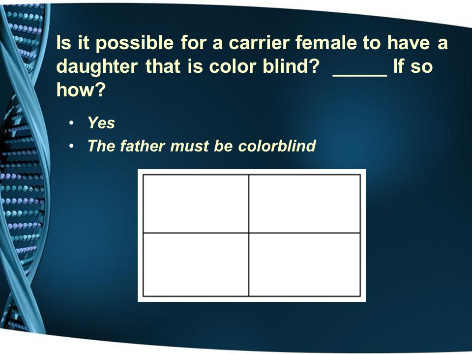 Is it possible for a carrier female to have a daughter that is color blind _____ If so how