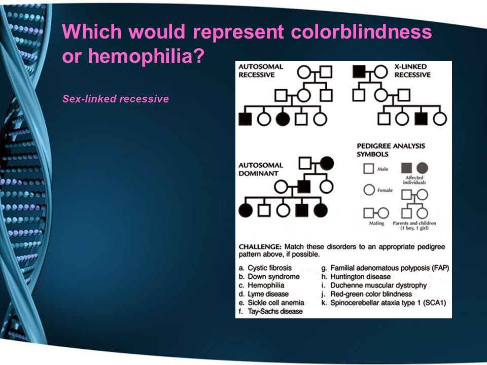 Which would represent colorblindness or hemophilia