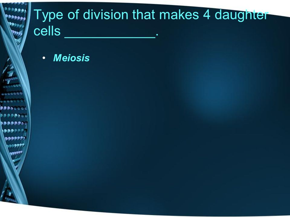 Type of division that makes 4 daughter cells ____________.