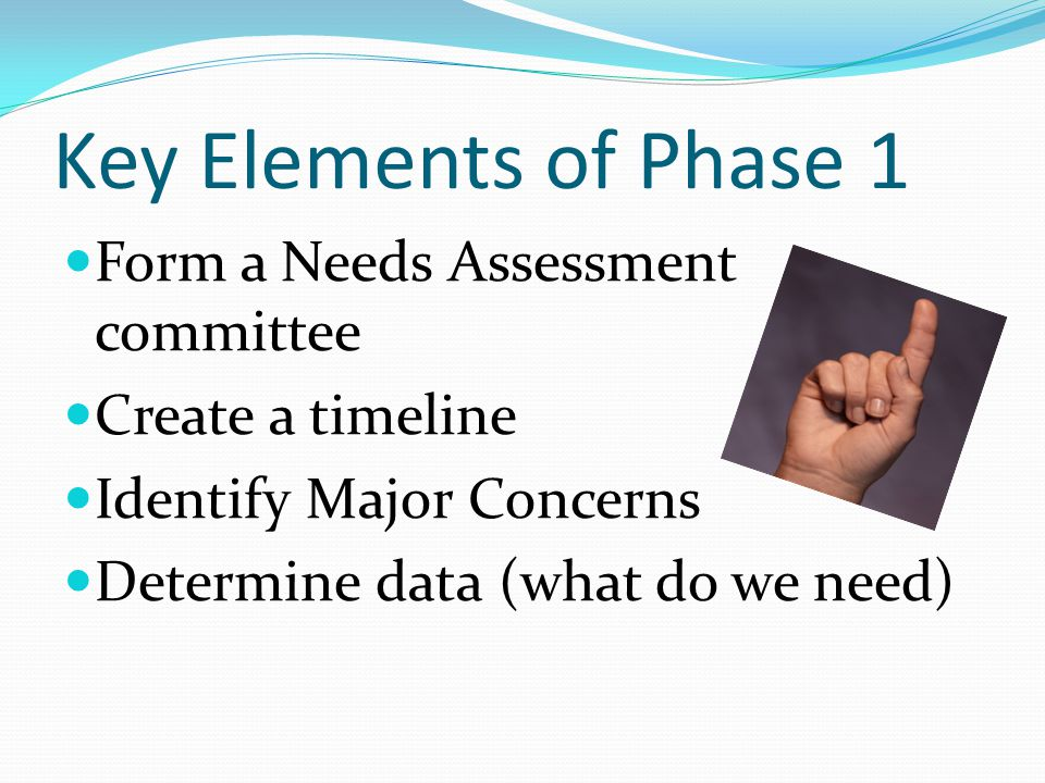 Key Elements of Phase 1 Form a Needs Assessment committee