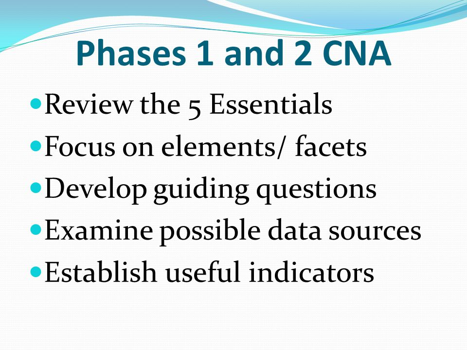 Phases 1 and 2 CNA Review the 5 Essentials Focus on elements/ facets