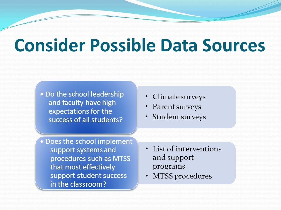 Consider Possible Data Sources
