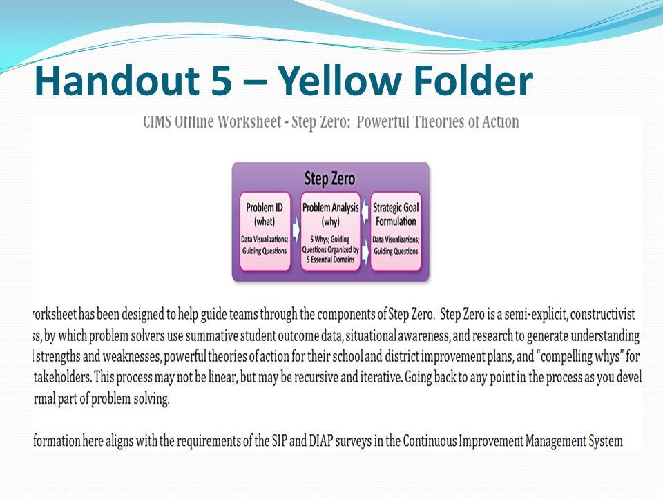 Handout 5 – Yellow Folder