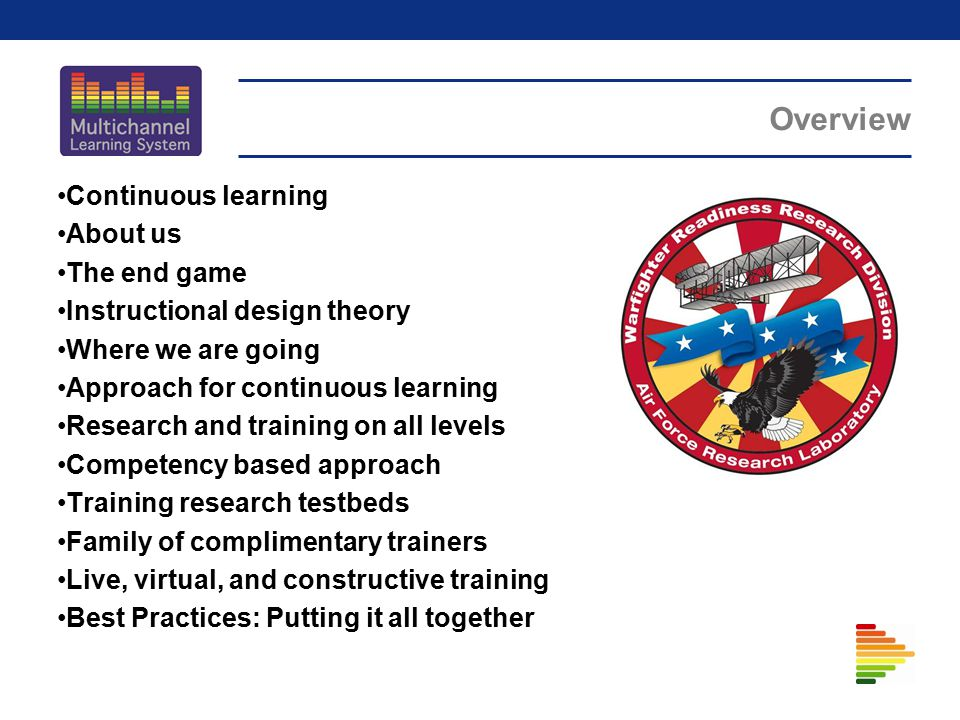 Overview Continuous learning About us The end game