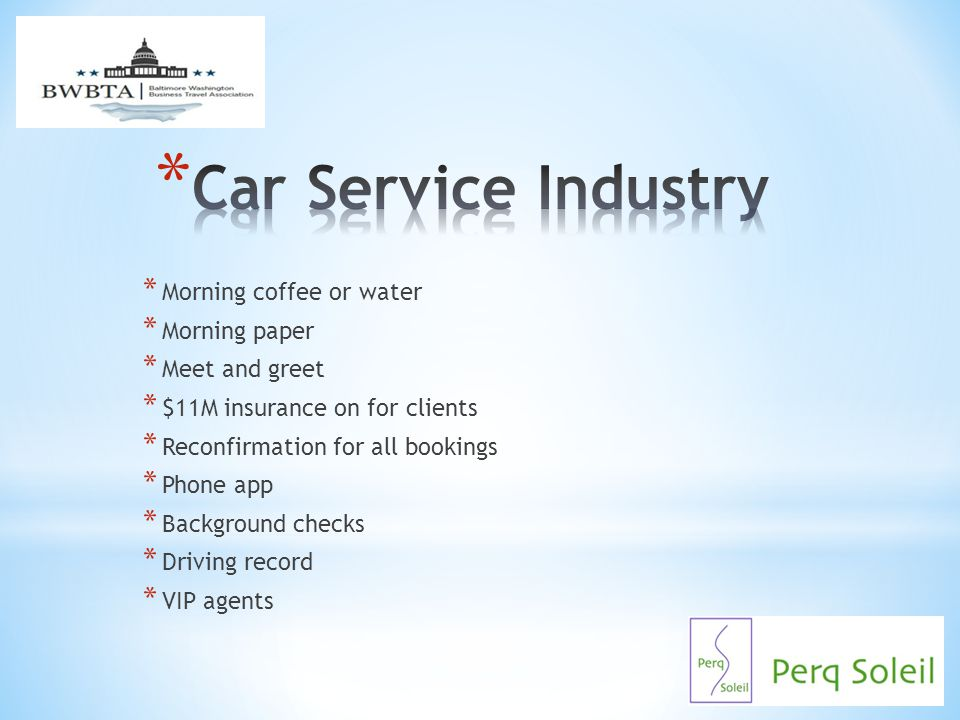 Car Service Industry Morning coffee or water Morning paper