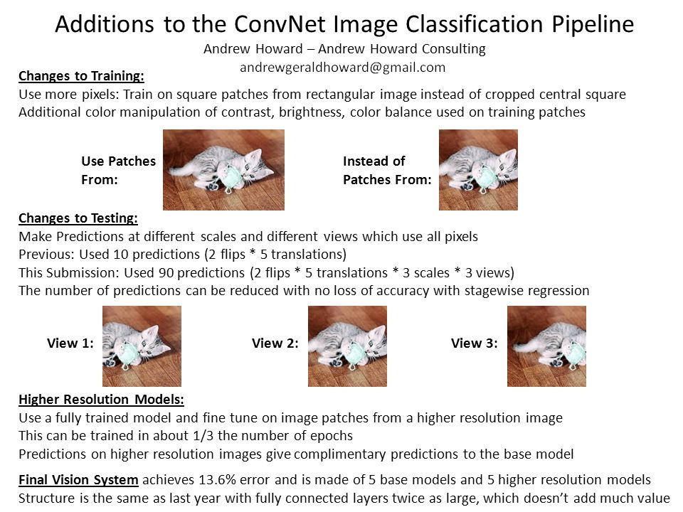 Additions to the ConvNet Image Classification Pipeline Andrew Howard – Andrew Howard Consulting