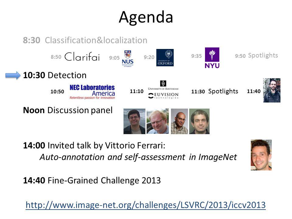 Agenda 8:30 Classification&localization 10:30 Detection