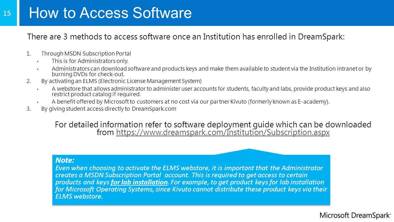 How to Access Software 15. There are 3 methods to access software once an Institution has enrolled in DreamSpark: