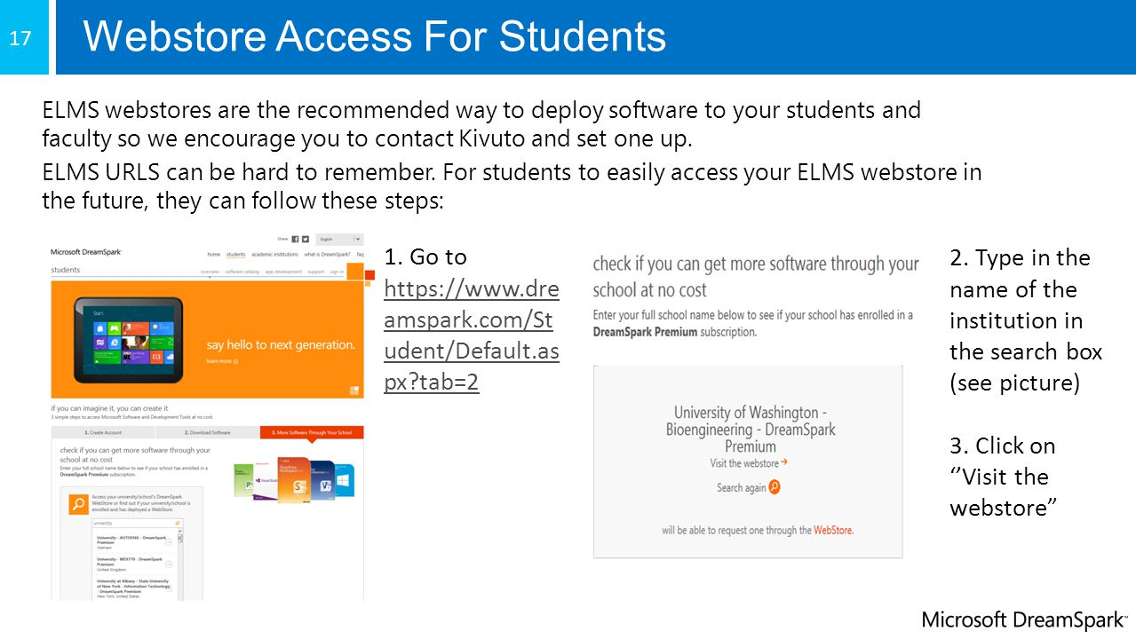 Webstore Access For Students