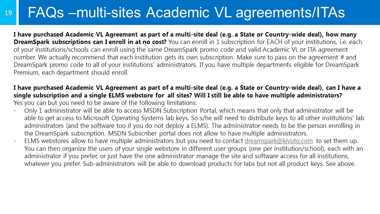 FAQs –multi-sites Academic VL agreements/ITAs