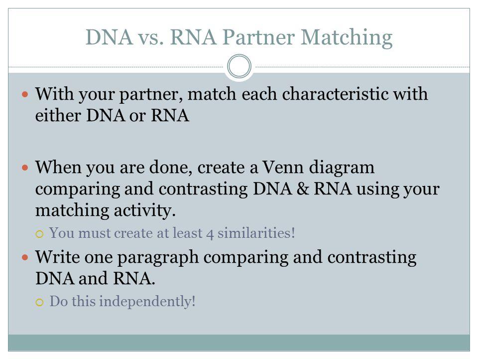 DNA vs. RNA Partner Matching