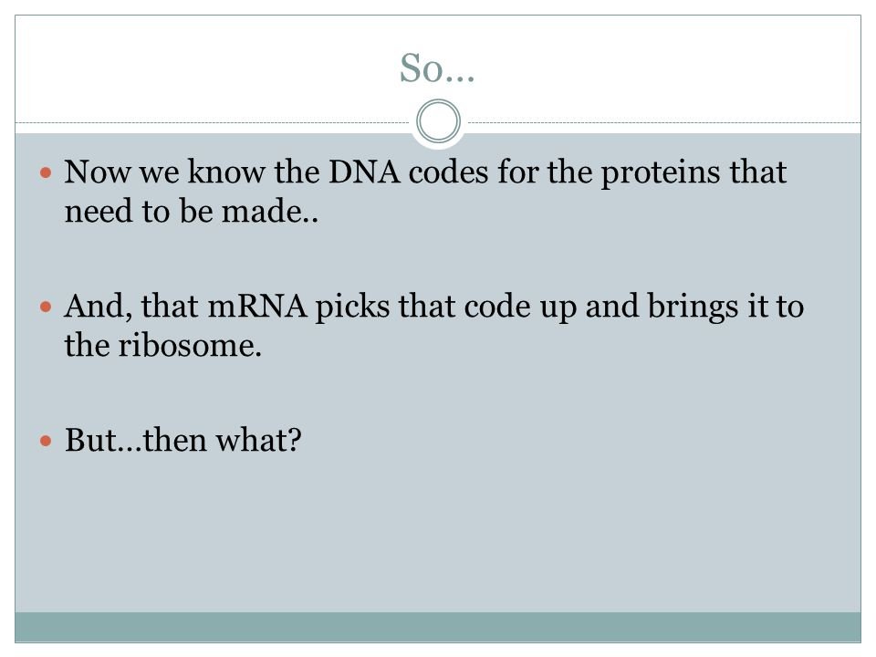 So… Now we know the DNA codes for the proteins that need to be made..