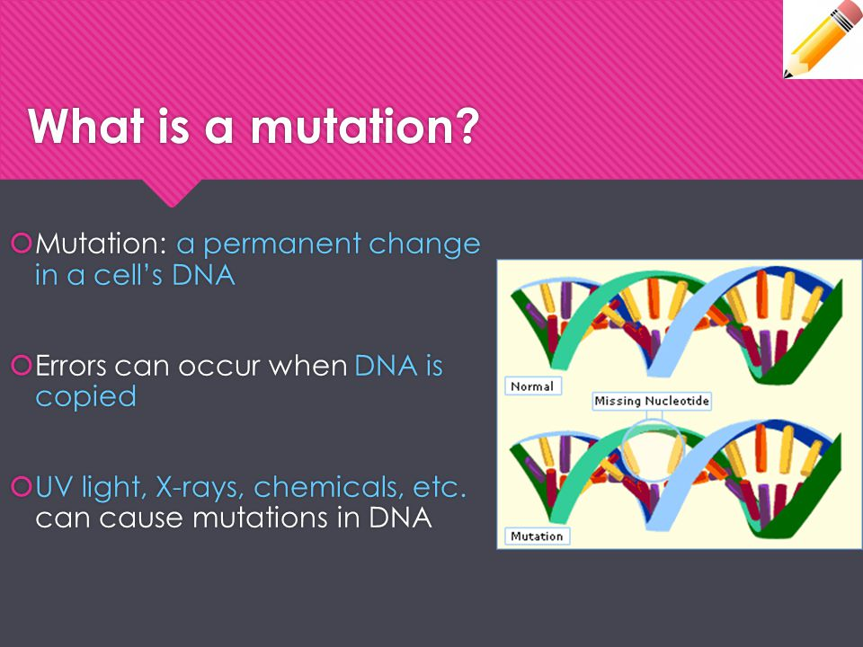 What is a mutation Mutation: a permanent change in a cell's DNA