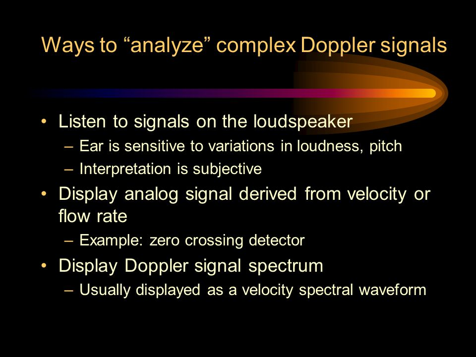 Ways to analyze complex Doppler signals