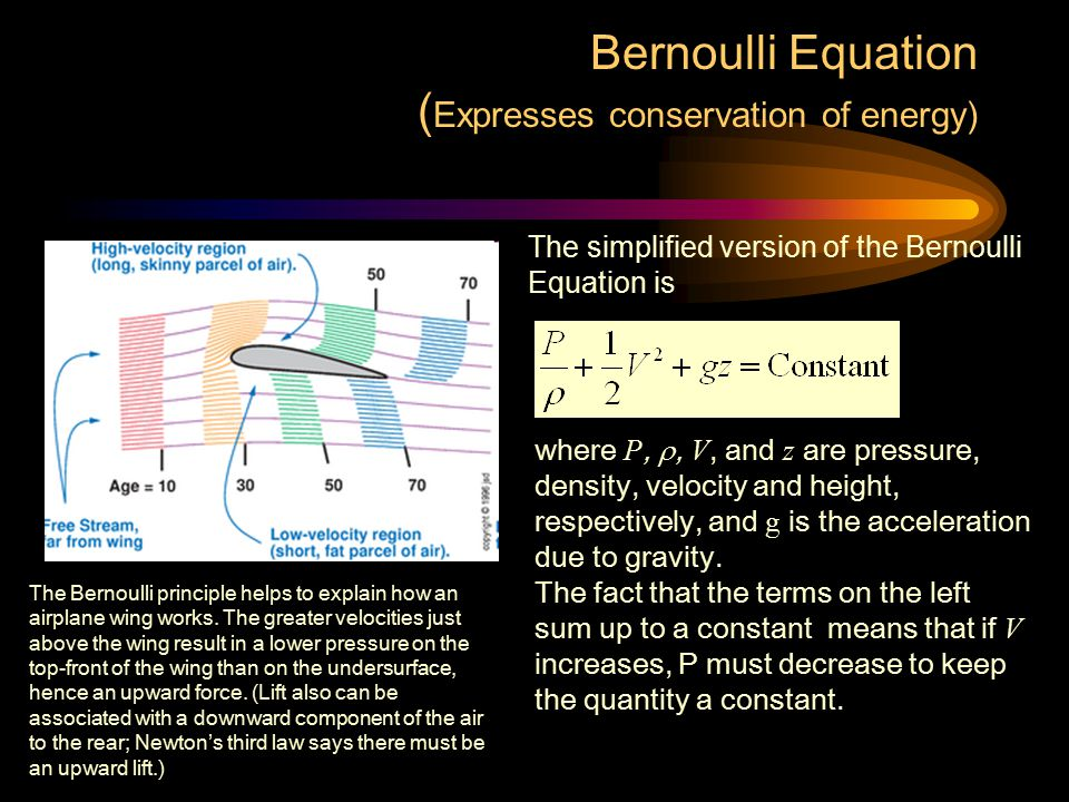 Bernoulli Equation (Expresses conservation of energy)