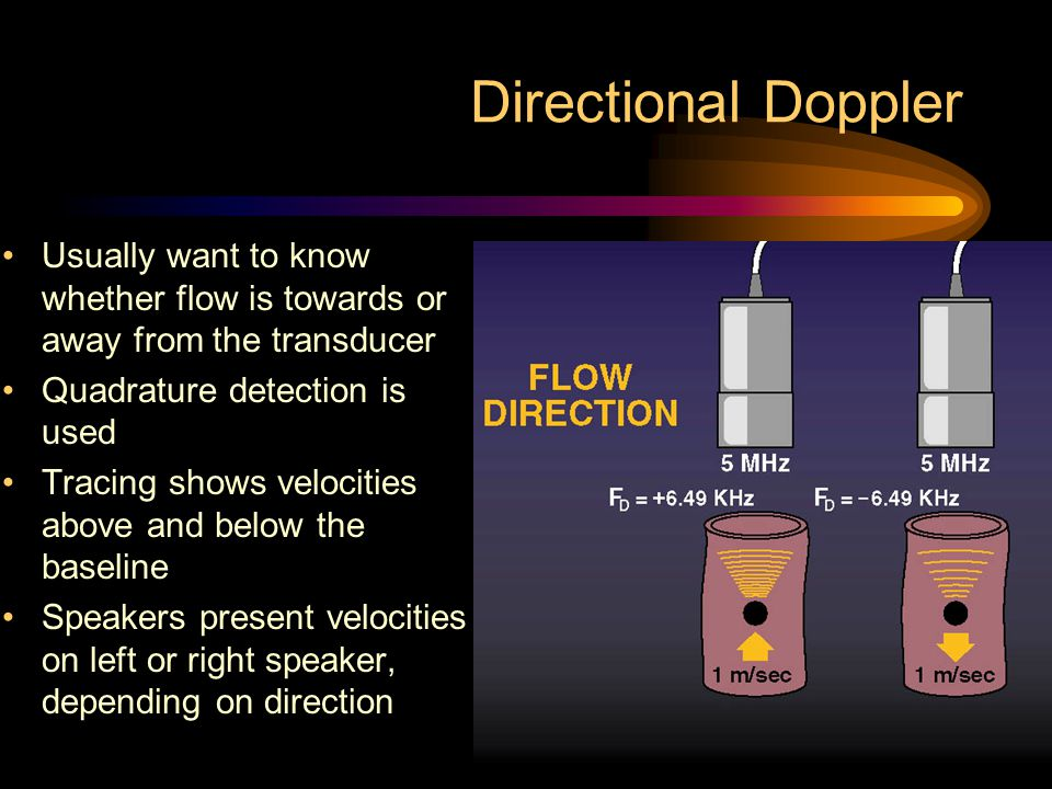 Directional Doppler Usually want to know whether flow is towards or away from the transducer. Quadrature detection is used.