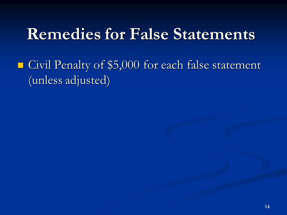 Remedies for False Statements