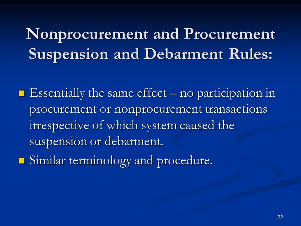 Nonprocurement and Procurement Suspension and Debarment Rules: