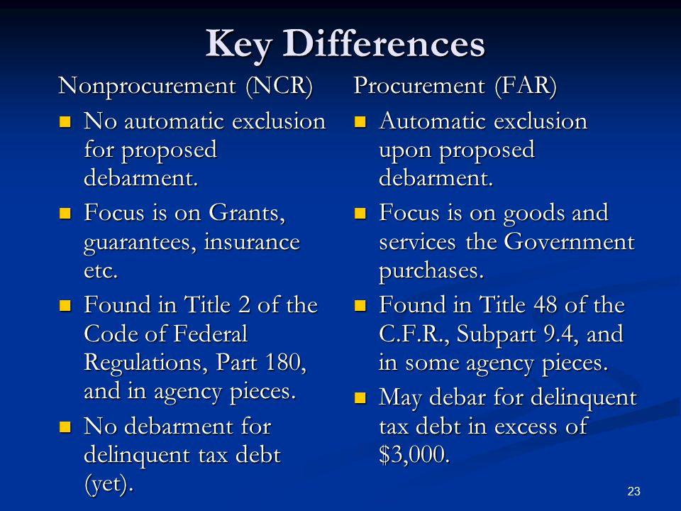 Key Differences Nonprocurement (NCR)