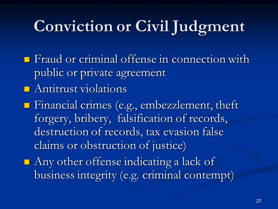Conviction or Civil Judgment