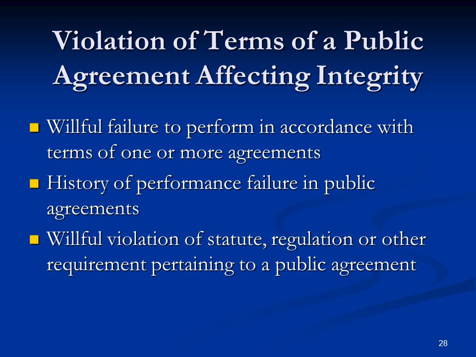 Violation of Terms of a Public Agreement Affecting Integrity