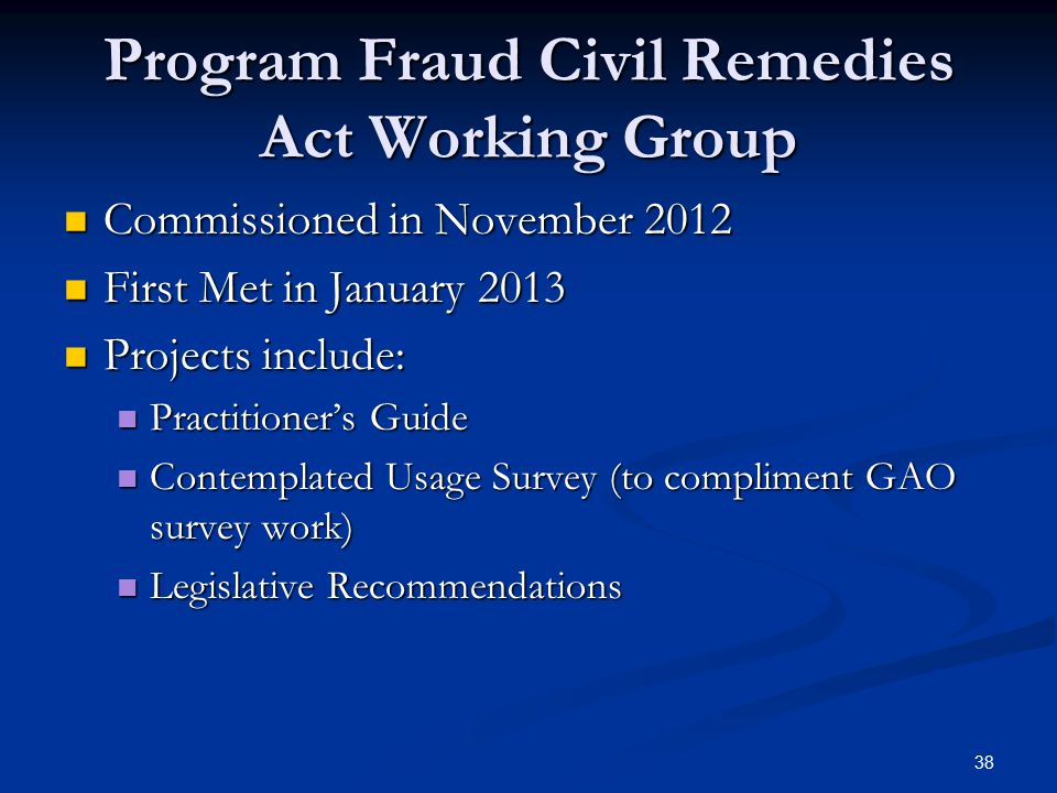 Program Fraud Civil Remedies Act Working Group