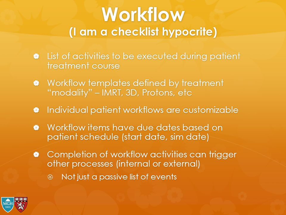 Workflow (I am a checklist hypocrite)